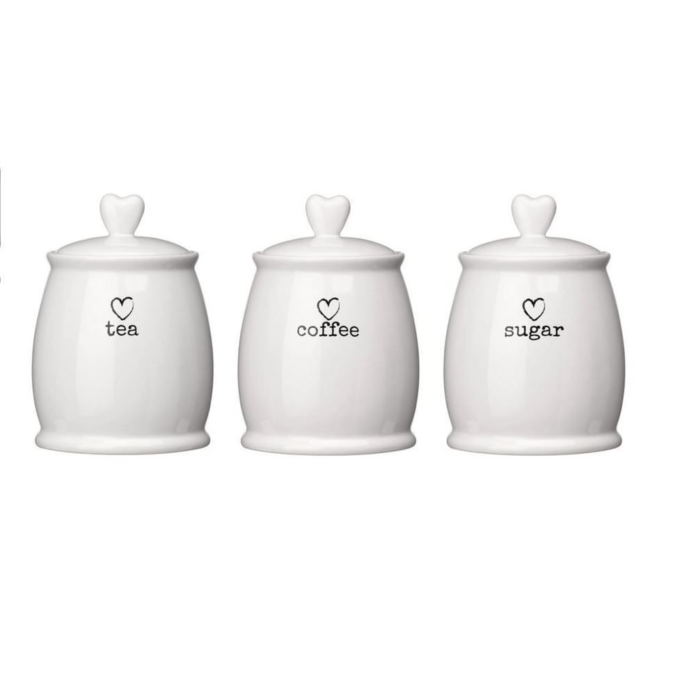 Charm Tea Coffee Sugar White Dolomite Storage Canisters Jar Set Air Lids