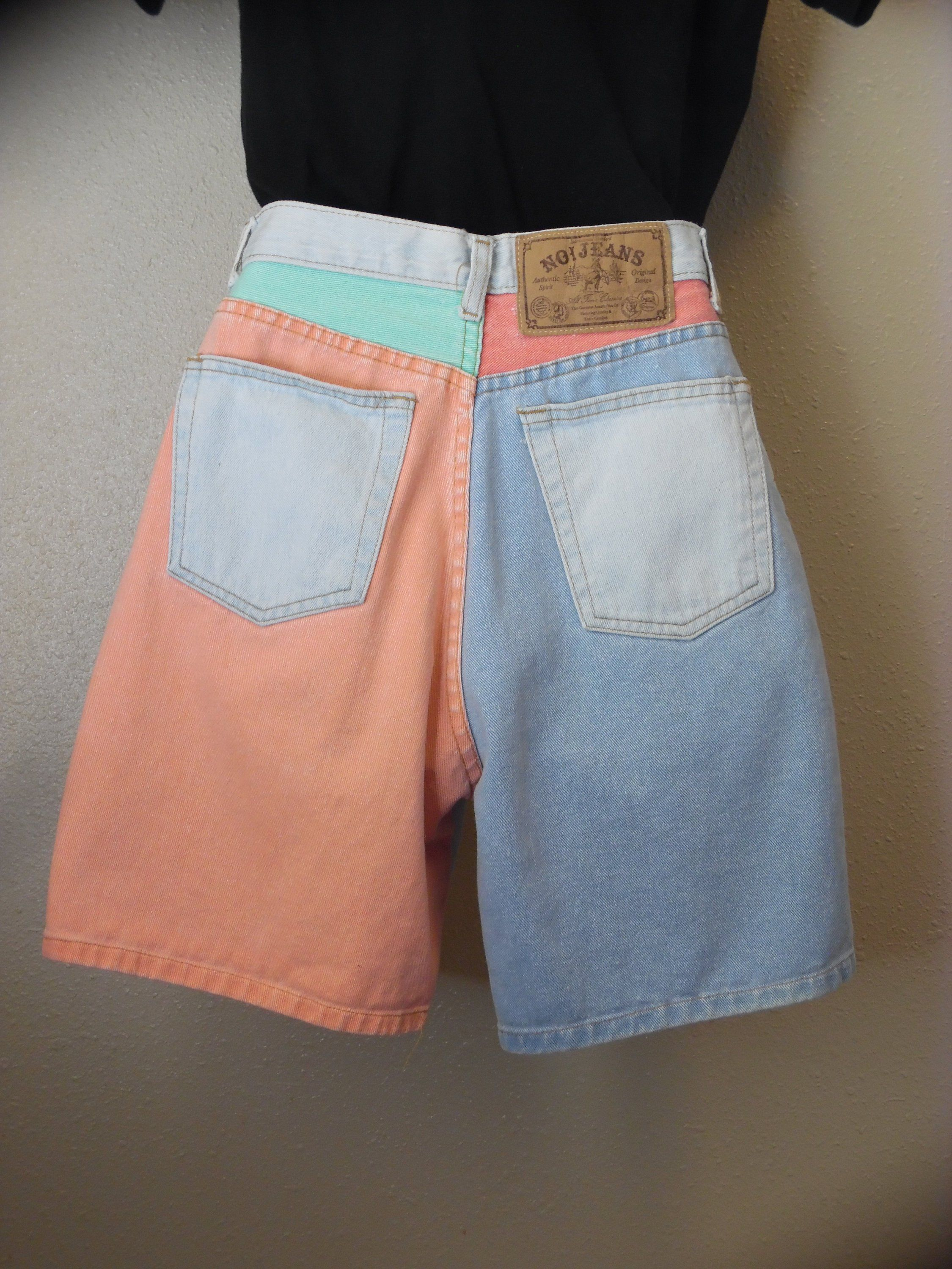 175bb8068 80s 90s Vintage Colorblock Shorts 1980s High Waist Mom Jeans 1990s Funky  Hip Hop Denim Size Small Medium by No! Jeans