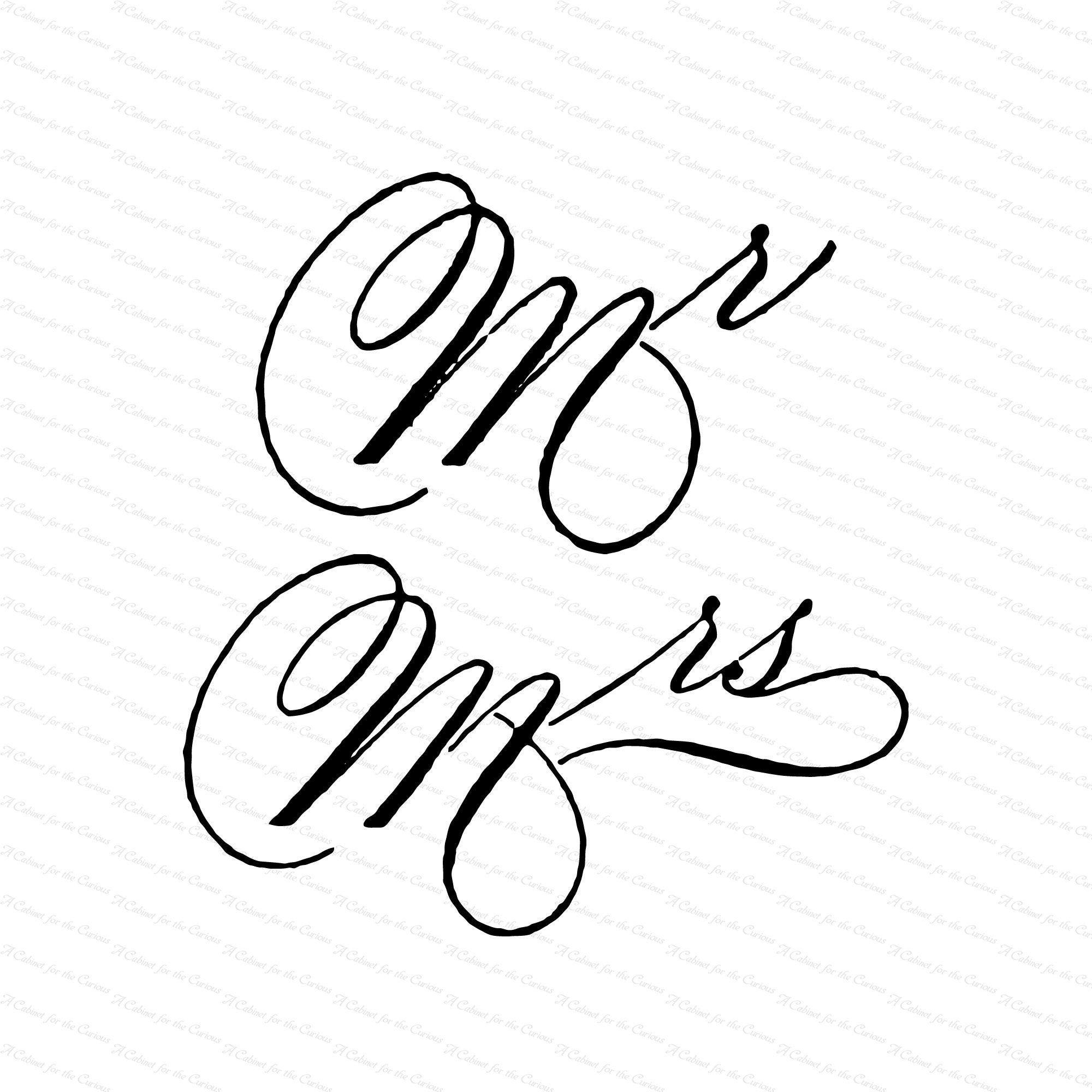 Vintage Victorian Handwritten Mr Mrs Words Clipart Etsy Fancy Handwriting Clip Art Vintage