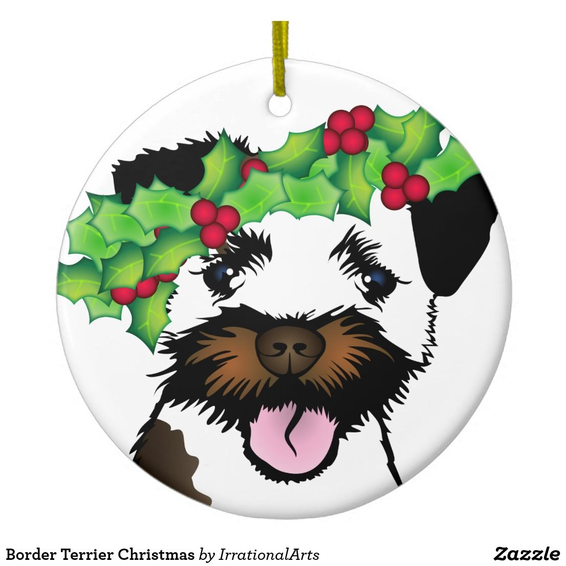 Border Terrier Christmas Ceramic Ornament Zazzle Com Border