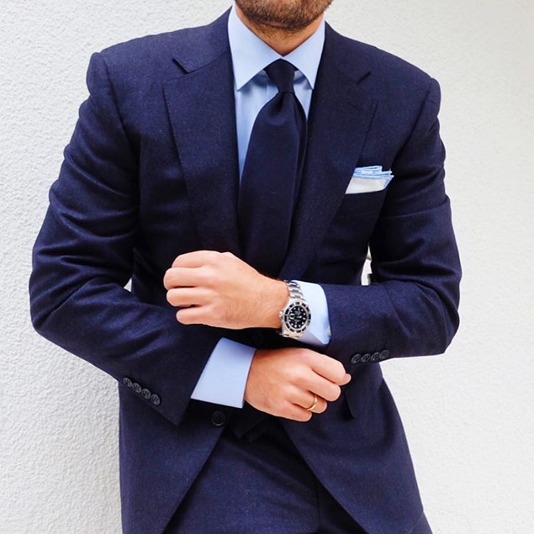 Navi suit x navi tie light blue shirt by etonshirts for Shirt color navy suit