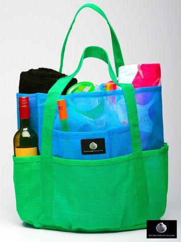 Whale Mesh Beach Bag * Bright Blue * Bright Green – Saltwater Canvas Mesh Bags