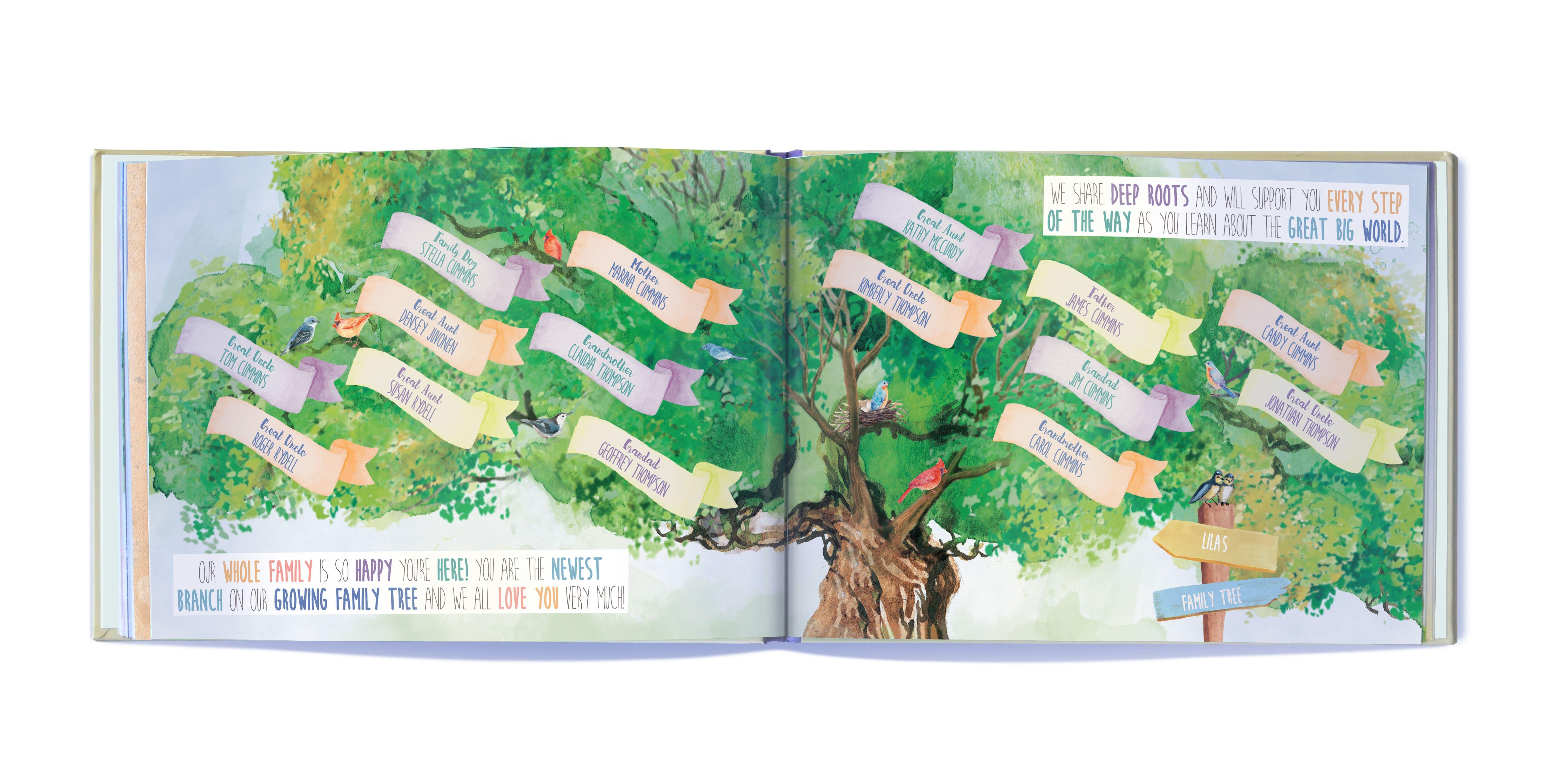 Beautifully illustrated family tree one of many totally