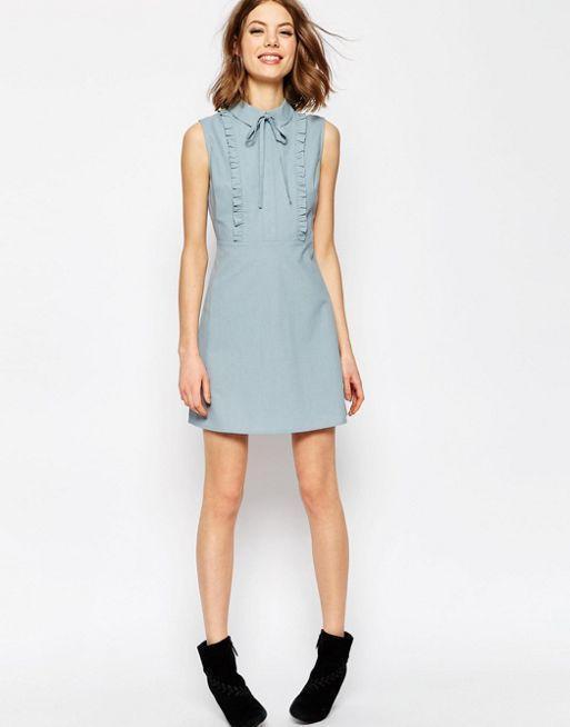 ASOS TALL Frill Front Mini Shirt Dress