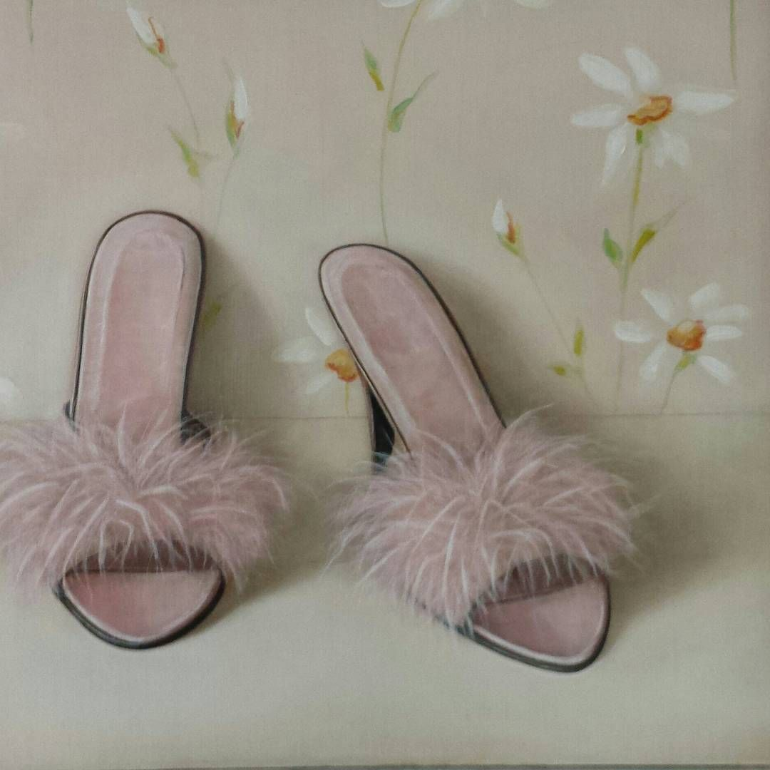Detail from a painting of vintage Slippers, 12 x 14 inches. This 2012 painting…