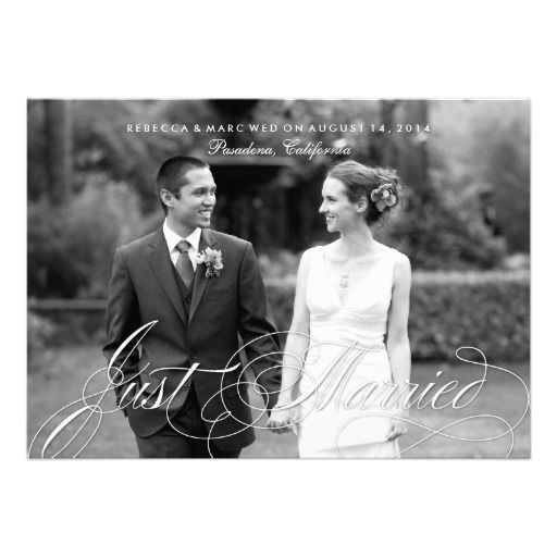 elegant just married photo marriage announcement elegant wedding