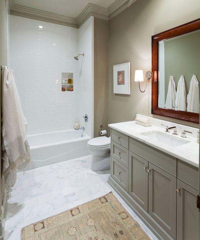 salle de bain taupe et gris avec peinture murale beige et meuble de lavabo