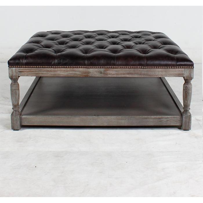 Square Thomas Leather Ottoman In Valencia Dark Brown Nebraska