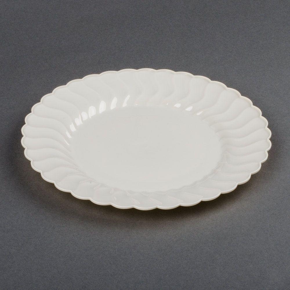Fineline Flairware 210-BO 10 1/4  Bone / Ivory Customizable Plastic Plate - 144/Case & Fineline Flairware 210-BO 10 1/4