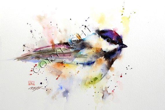 Chickadee Watercolor Bird Print Bird Art Painting By Dean Crouser