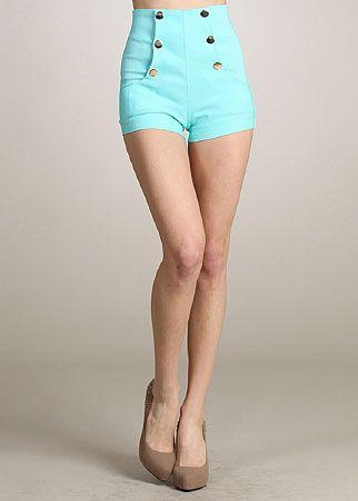 Juniors Sailor Button Shorts (Mint)