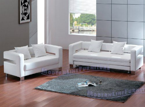Best Modern White Leather Sofa Sleeper Loveseat Set By 640 x 480