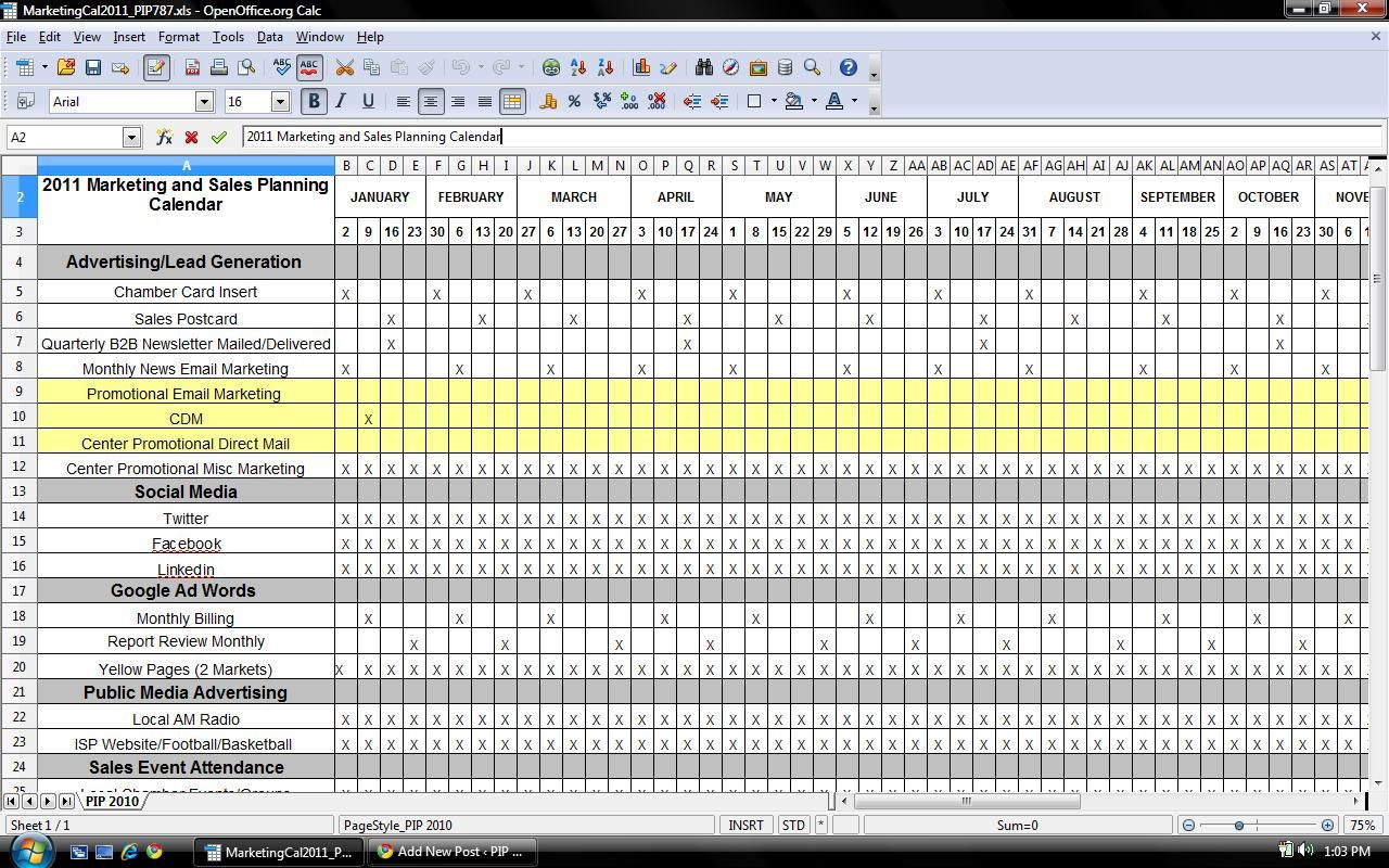 Doc1187772 Sample Marketing Calendar Marketing Calendar – Sample Marketing Calendar
