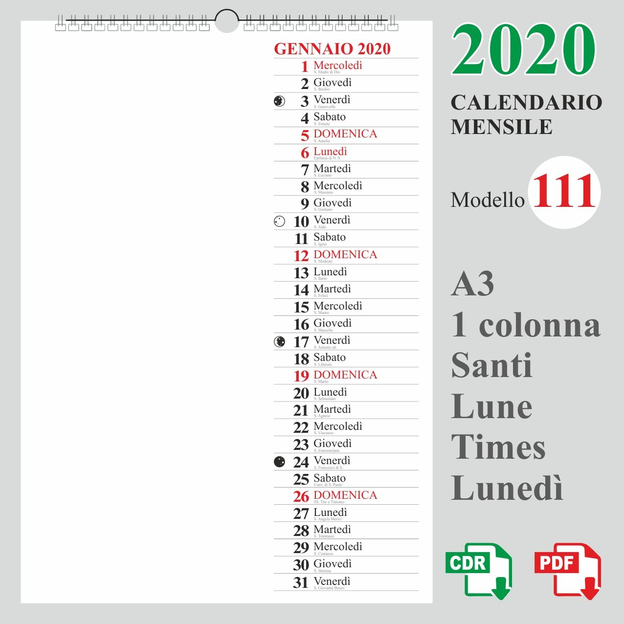Calendario Annuale 2020 Italiano.Template Calendario 2020 Italiano Calendario 2020