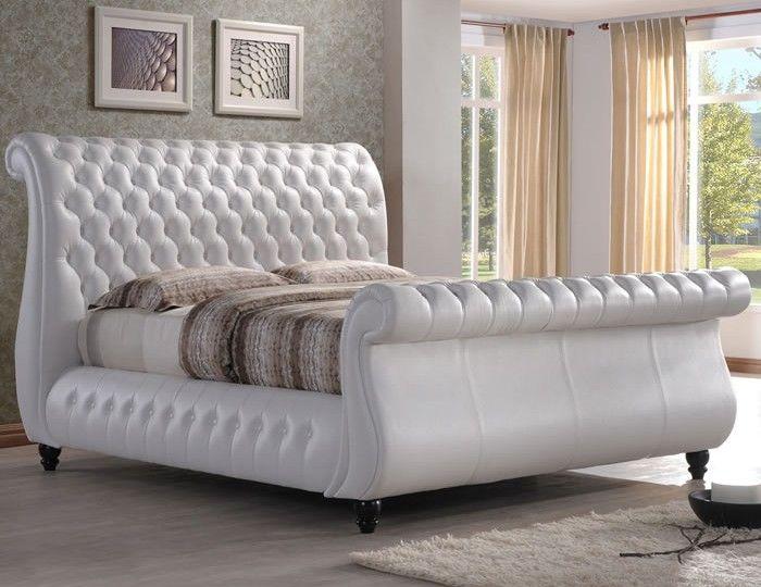 Gianna White Genuine Leather Sleigh Bed | Home & Garden | Pinterest ...