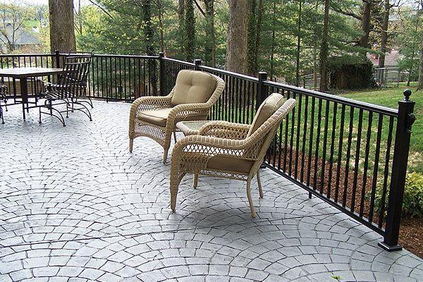 Concrete Patio With Railings Railing Idea Cement Decks Patio Idea Patio Living Google Search Patio Railing Patio Design Stamped Concrete Patio