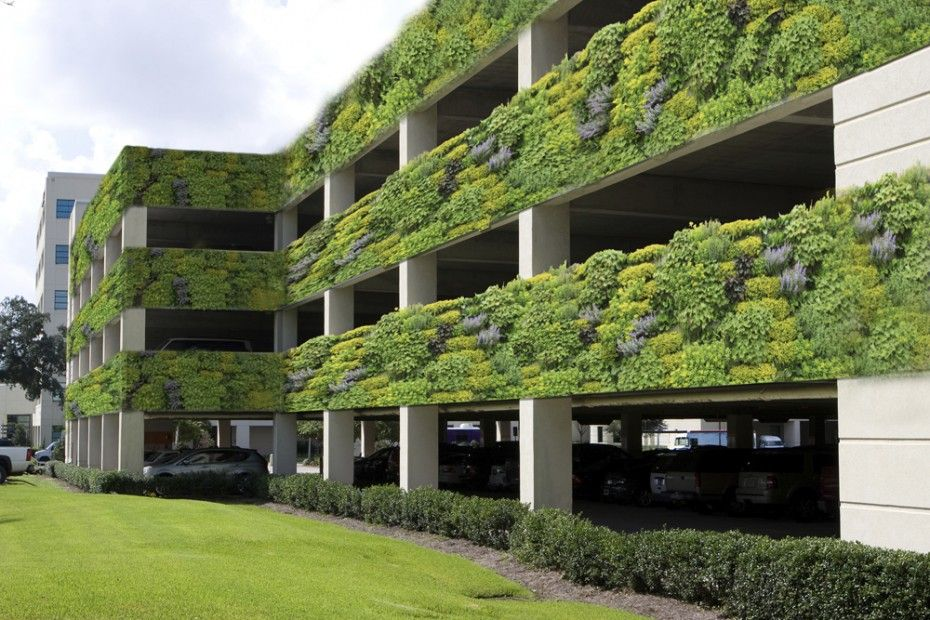 Modern Four Level Parking Garage Is Located Next To An