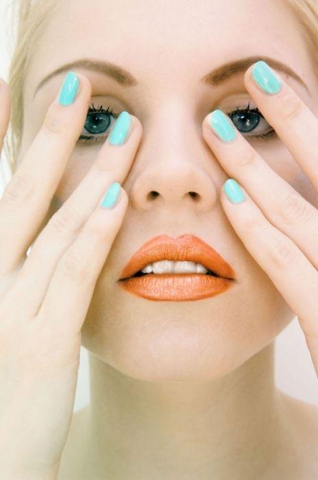 Nail color + lip color.