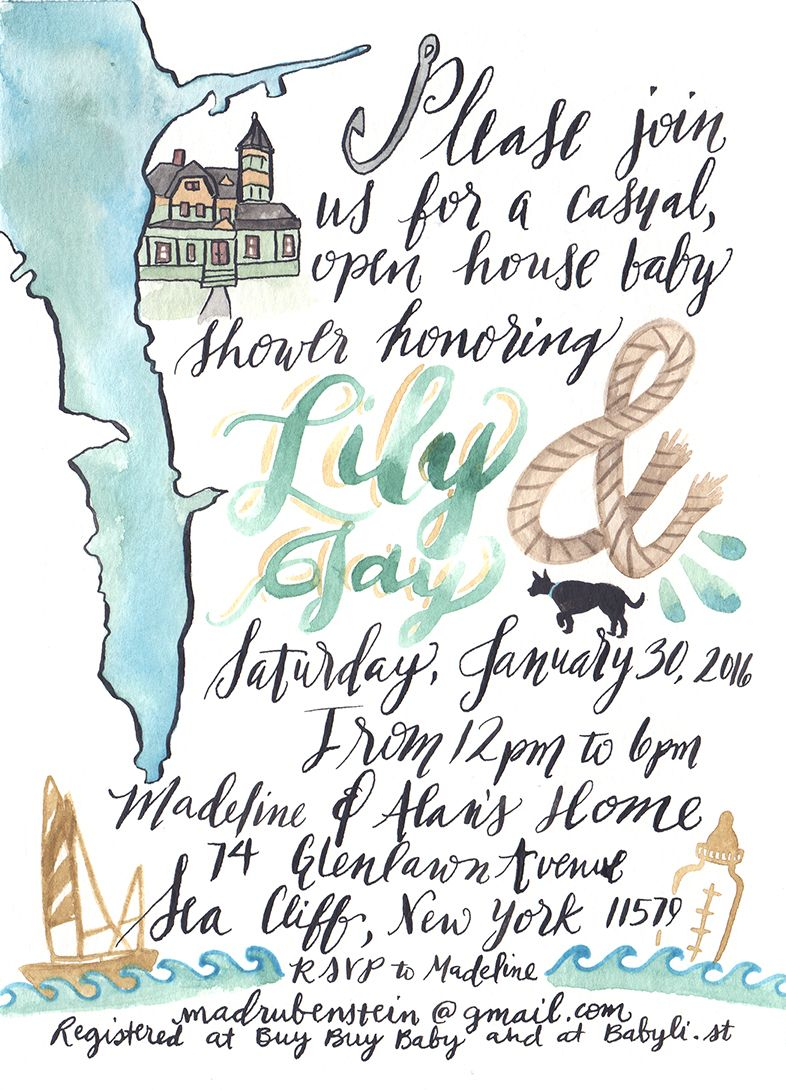 Beach Baby Shower Invitation Nautical Rope & Sail Boat Couture Handmade Stationery by: Pigment & Parchment