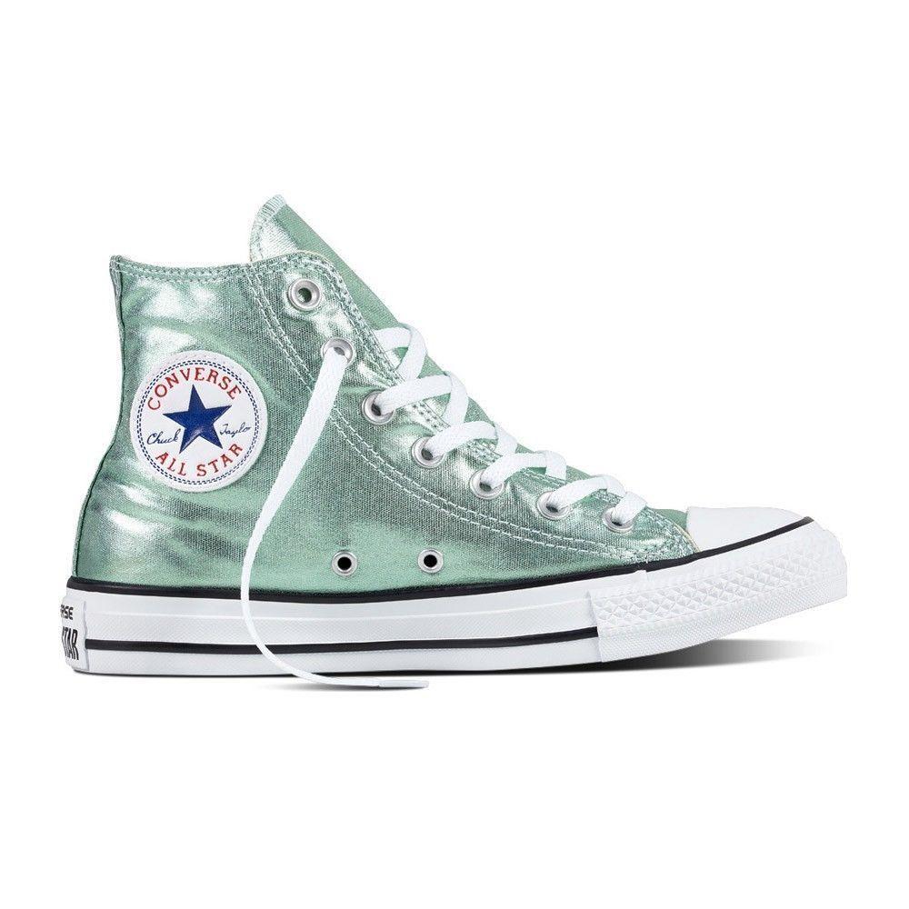 grün Converse Damen Schuh Chuck Taylor HI Sneaker Jade// black// white METALLIC