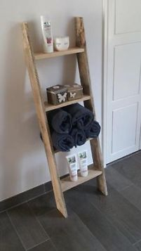 ≥ Ladder gemaakt van steigerhout / pallethout - Badkamer ...