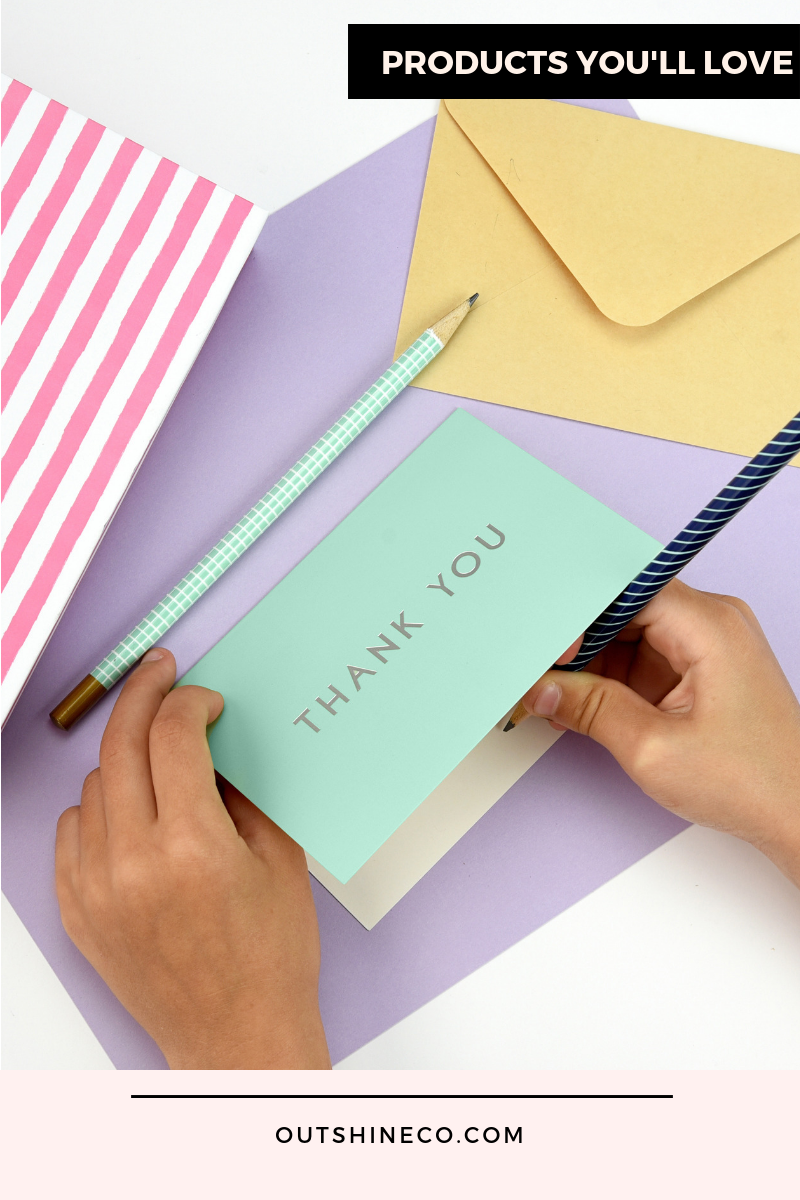 outshine 100 blank thank you cards with envelopes  bulk