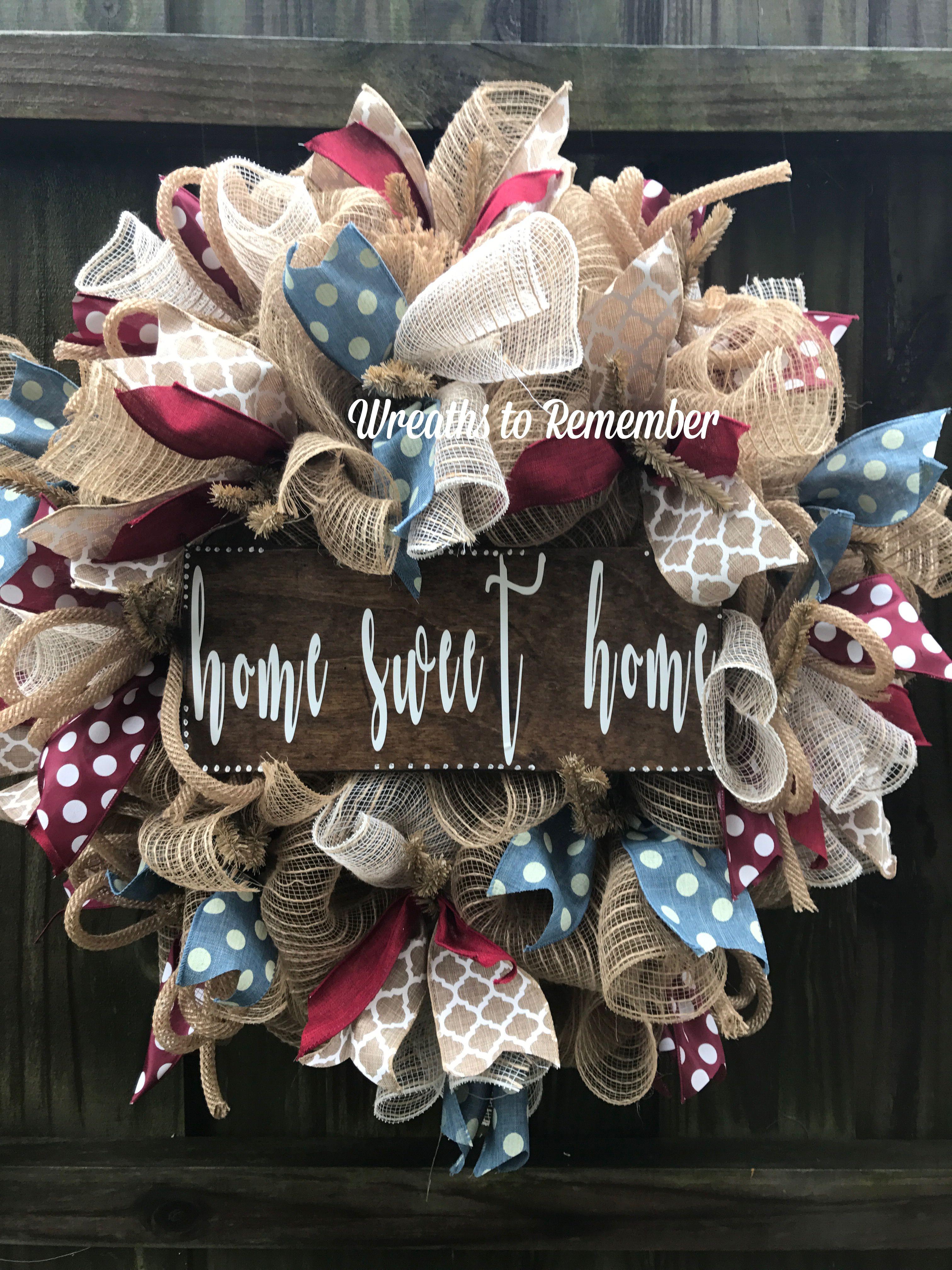 Photo of Home Sweet Home wreath, burlap wreath, decorative mesh wreath,
