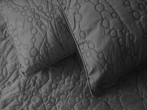 Cotton charcoal King size quilted bedspread with 2 by Tatvakala ... : charcoal gray quilt - Adamdwight.com