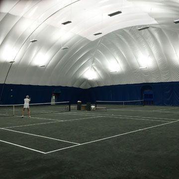 This 2 Court Tennis Dome Is Offers Aesthetically Pleasing Green Exterior Fabric An Energy Efficient Skylight And T 5 Lighting System