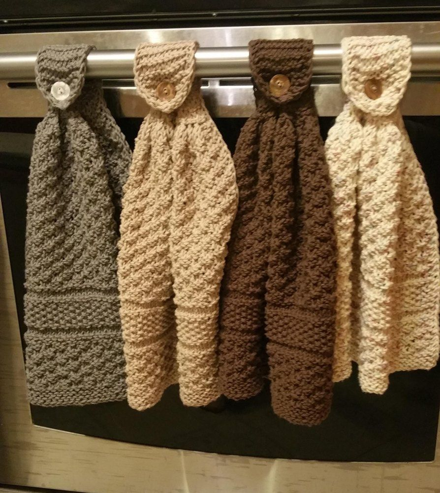 Kitchen towel hanging ideas - Knitted Hanging Kitchen Towels