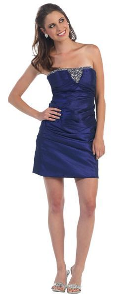 Sexy Navy Blue Cocktail Mini Dress Strapless Taffeta Ruched Rhinestone $129.99