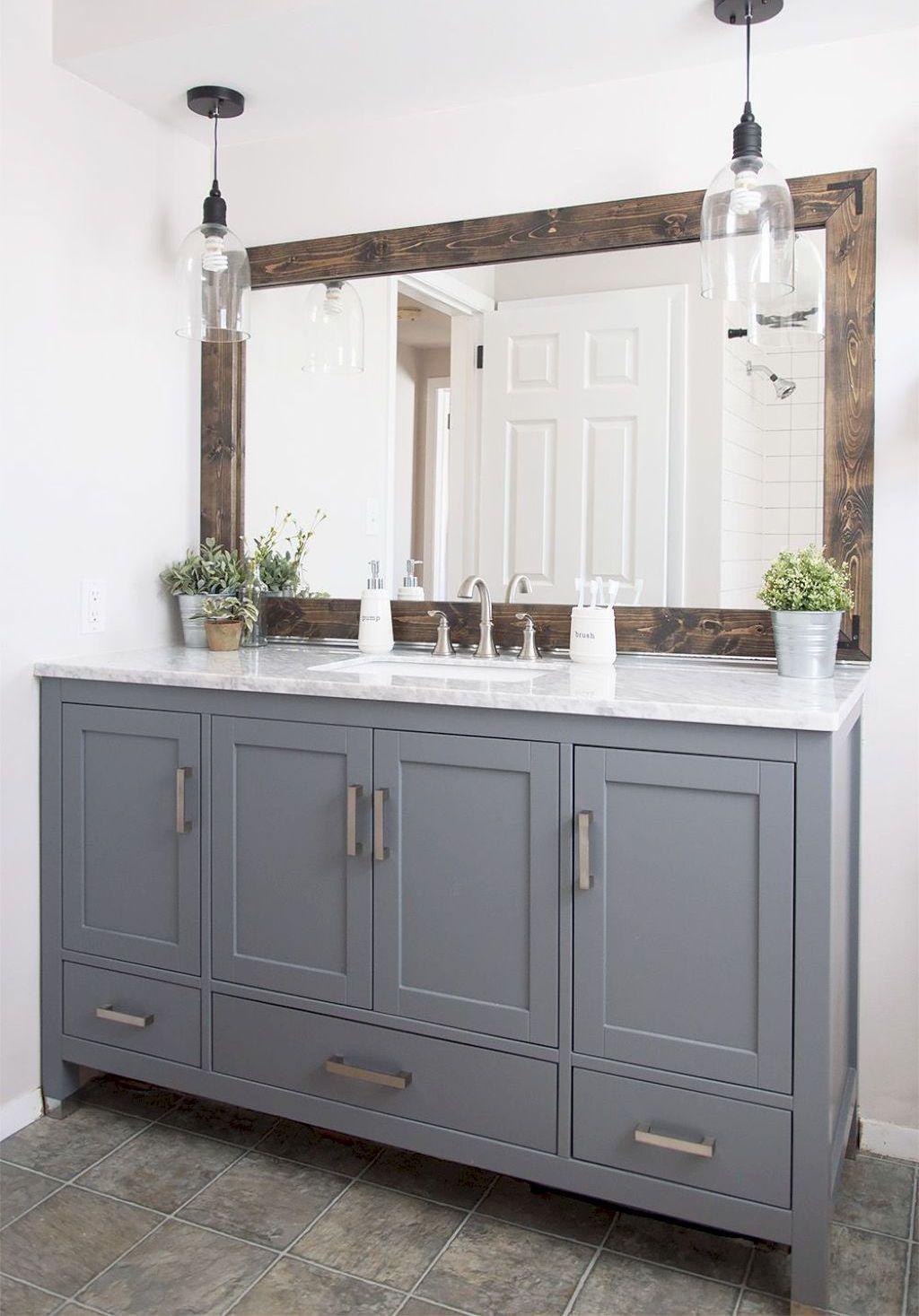 Nice 45 Stunning Farmhouse Bathroom Vanity Decorating Ideas https ...