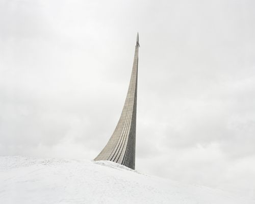 Monument to the Conquerors of Space. The rocket on top was made according to the design of German V-2 missile