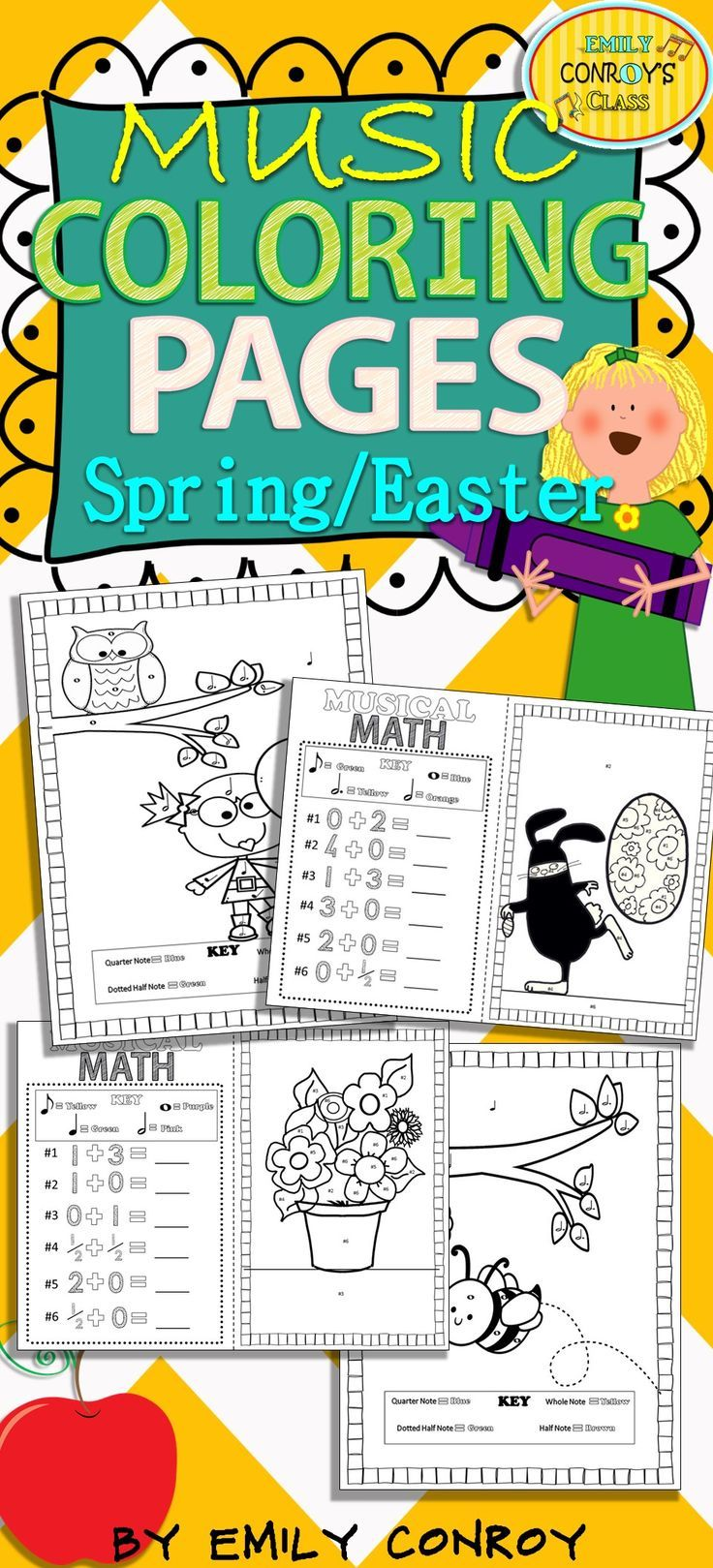 Spring coloring pages for upper elementary - Music Coloring Pages Spring Easter