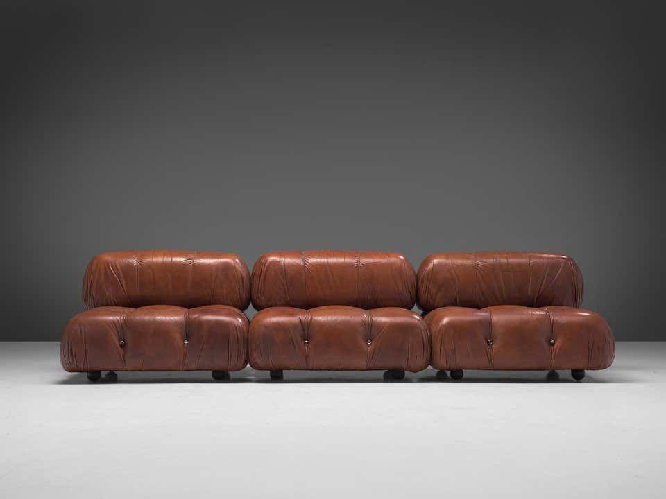 Mario Bellini Camaleonda Modular Sofa In Original Leather In 2020 Modern Leather Sofa Bellini Modern Sofa Sectional
