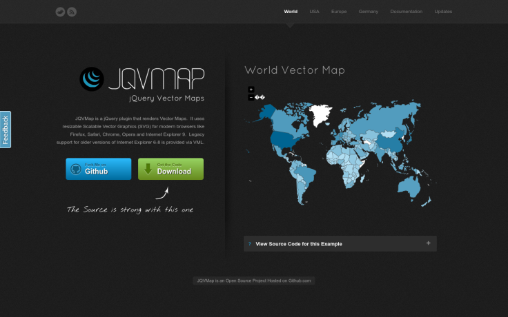 JQVMap is a jQuery plugin that renders Vector Maps. It