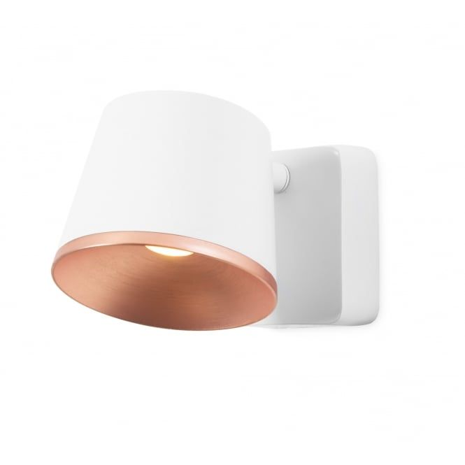 Lighting Inspiration Contemporary White And Copper Led Wall Light From Lightingcompany Co Uk Wall Lights Adjustable Wall Light Double Wall Lights