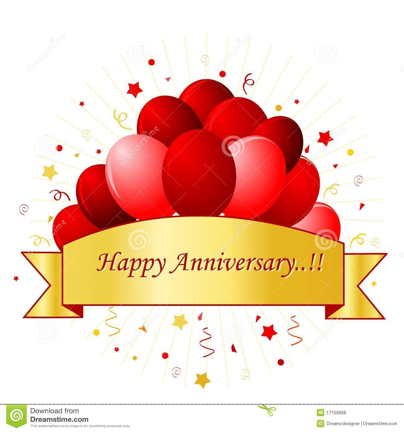 happy anniversary card in red letters with beautiful red