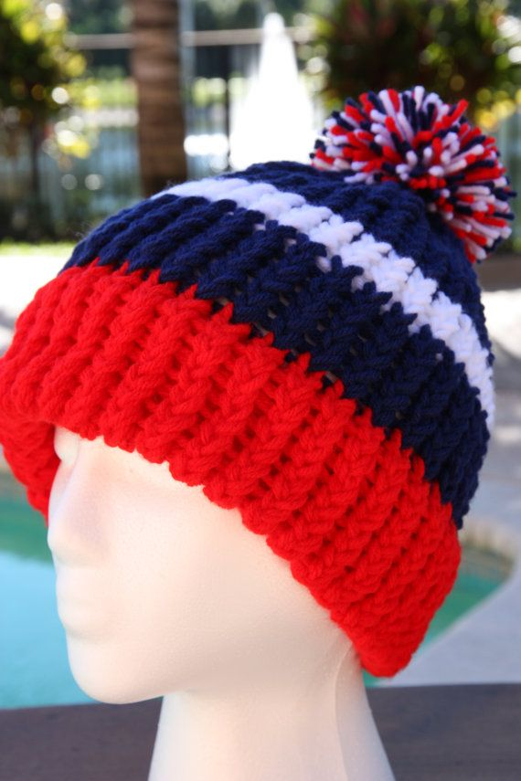 free shipping red white and navy blue new england patriots by  campcousinscrafts. loom hatsloom knit b26d310a9