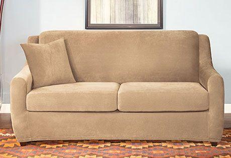 Stretch Pique Three Piece Full Size Sleeper Sofa Slipcover