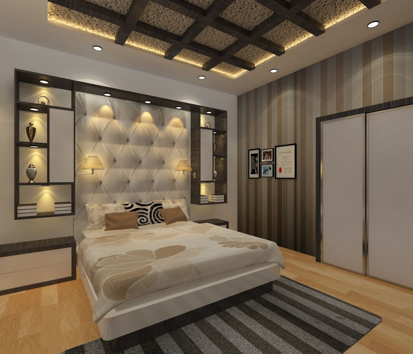 Modern Interior Decoration Living Rooms Ceiling Designs: Luxury Bedroom With Elements Bedroom , Bed, Cover, Ceiling
