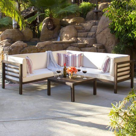Best Choice Products Outdoor Patio Furniture 4 Piece Acacia Wood Sectional Sofa Set Water Resistant Cushion Sectional Sofa Patio Sectional Patio Furniture Sets