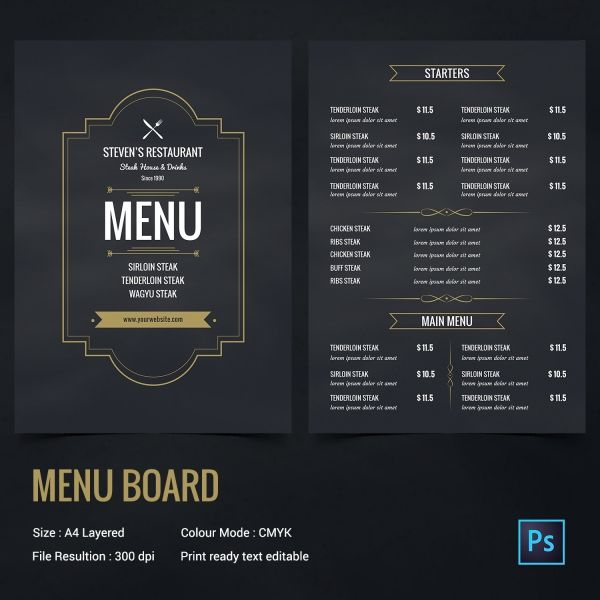 Retro Menu Boards  Google Search  Menu Folders Boards And Palques