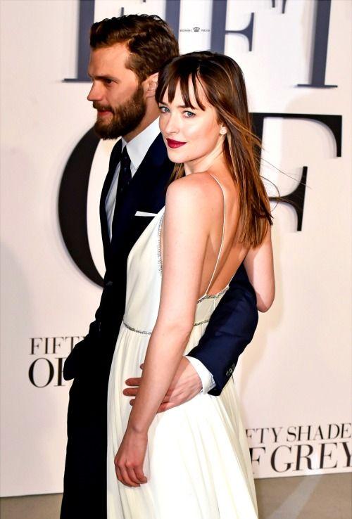Dakota Johnson and Jamie Dornan at Fifty Shades of Grey London Premiere
