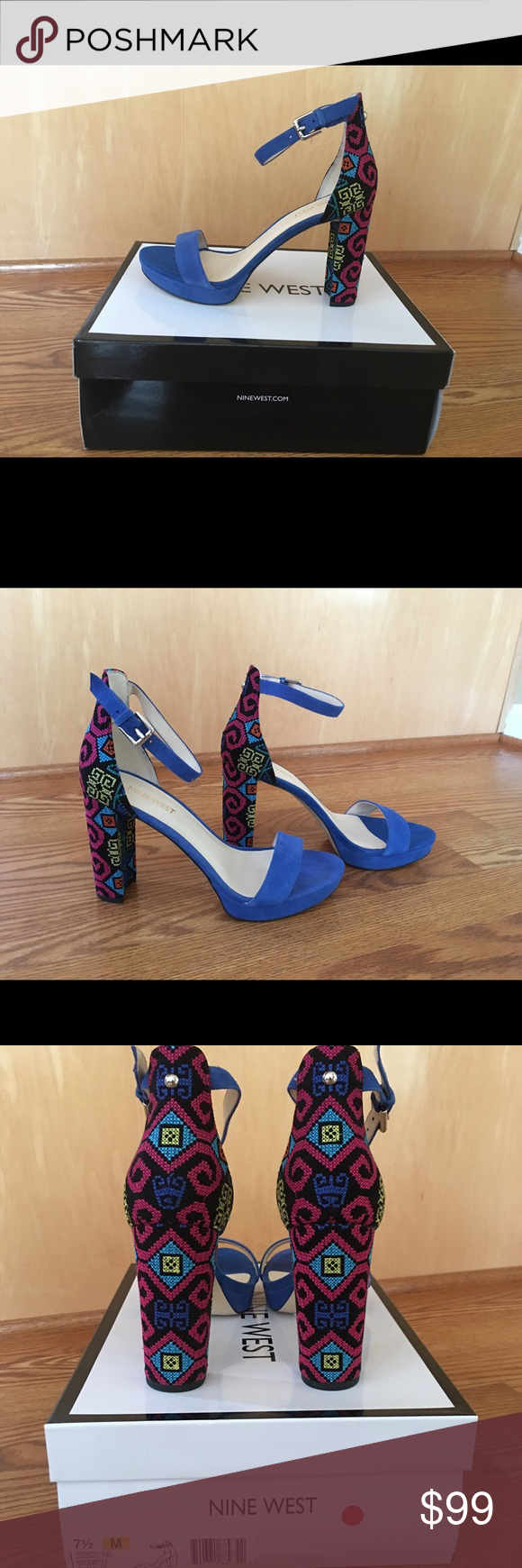 a6840a5c37c NEW. Nine West Dempsey Dress Sandal Multi Fabric With a delicate ankle  strap