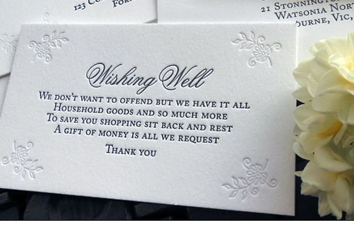 Wedding Gift Verses For Invitations: Wishing Well Wording