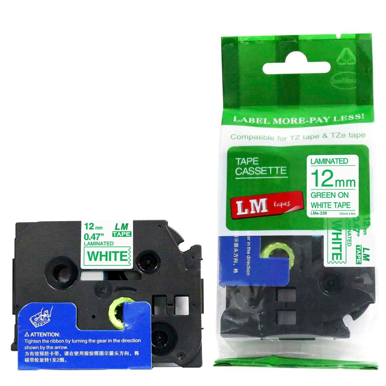 Lm Tape Compatible Tze 1 2 Green On White P Touch Tape 12mm Label Printer Tape Cassette Tapes