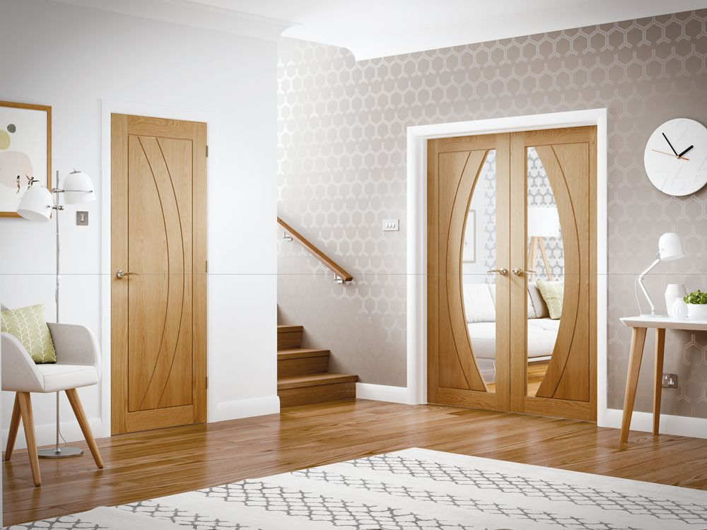 Rno Internal Oak Door With Clear Glass