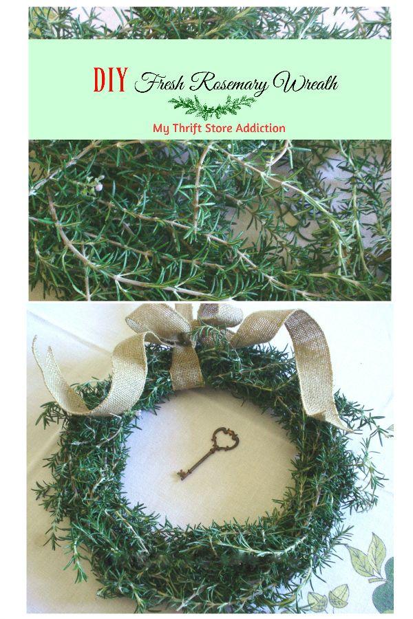 DIY tutorial for creating a fragrant fresh Rosemary wreath featuring etsy Secret Garden Herbs! mythriftstoreaddiction.blogspot.com