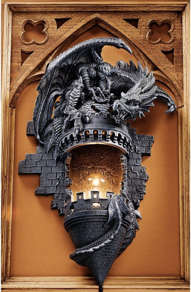 Gothic Castle Turret Dragon Electric Wall Sconce Sculpture Meval Home Decor